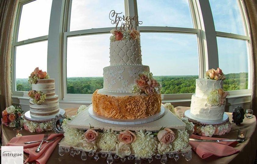 Multiple layered wedding cake
