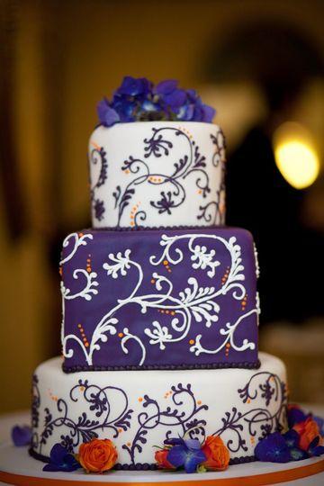 Piped purple swirls