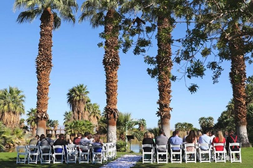 Outdoor wedding ceremony setting