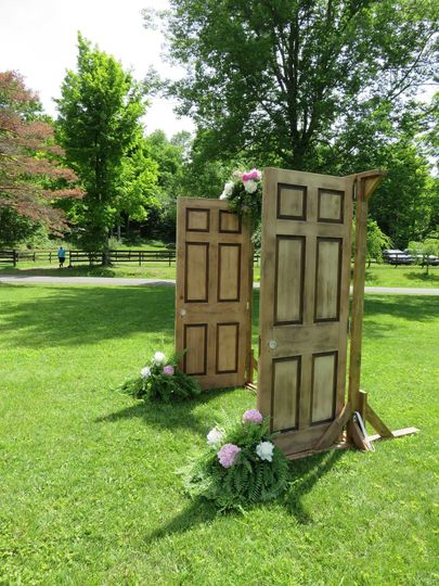 Wooden doors that open and close to create an outdoor church effect.
