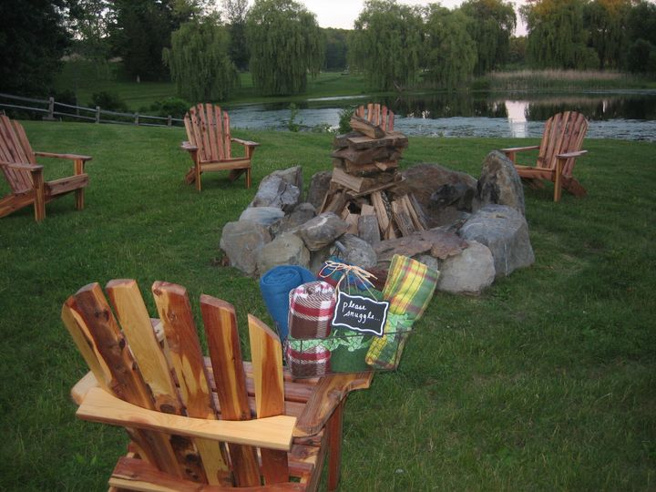 The view at dusk from the Fire Pit at Pond Lily