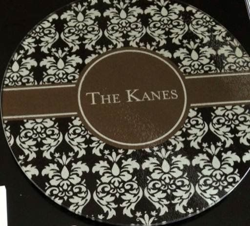 Personalized tempered glass cutting board available in many different designs and colors