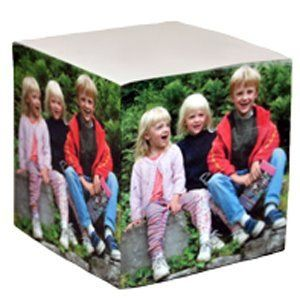 Cube of sticky notes with your own photos on each side. . .perfect gift for parents and...