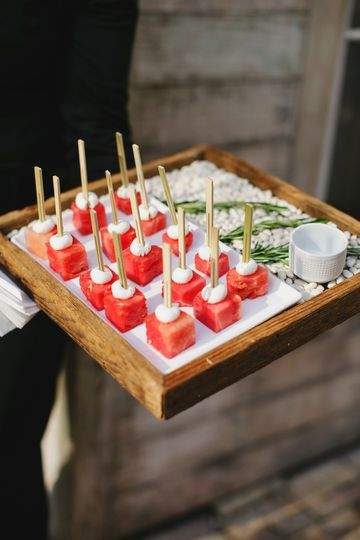Watermelon Hors d'ouevres with goat cheese and Hawaiian Sea Salt