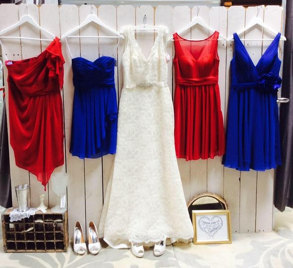 Bridal gown and bridesmaids dresses