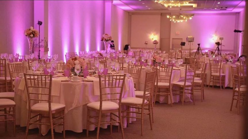 Our gold chiavari chairs and sequin linen added an elegant touch to this wedding