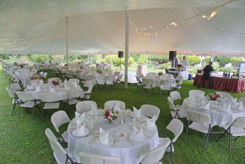 A tented reception for 200 on our side lawn.