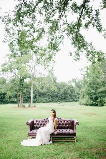 Bride on the leather chaise lounge