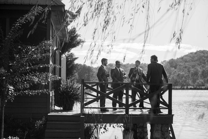 Groom and groomsmen on the deck