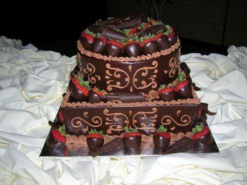 2 tier chocolate ganache groom's cake