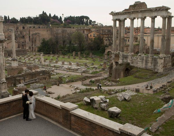 Bride and Groom Near the Coliseum in Rome, Italy