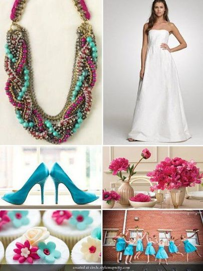 A medley of pink dyed jade and turquoise are loosely braided with antiqued chains to create a bold,...