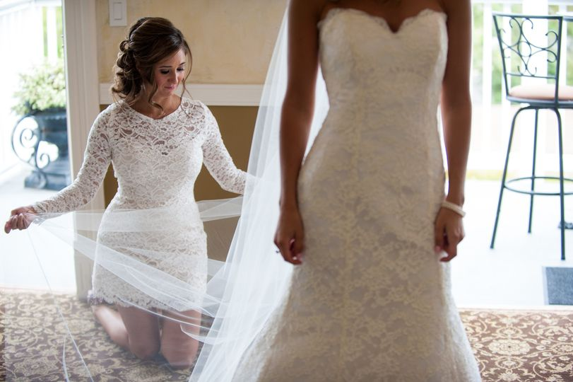 perry house bride with bridesmaid wedding dress in
