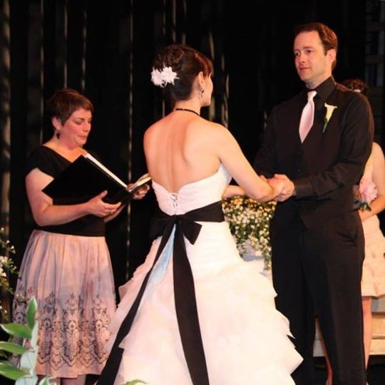 An amazing, gorgeous ceremony at deertrees theatre in harrison, maine.