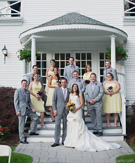 Wedding couple and guests