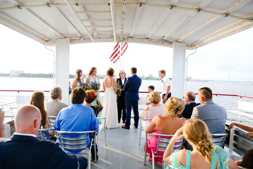 Top deck wedding ceremony