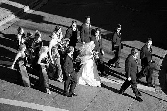 The wedding party enjoys a sunny day in Flagstaff, Arizona