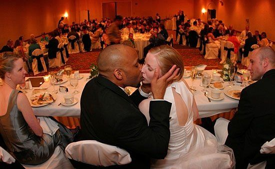 A spontaneous kiss at the reception