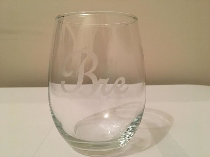 Etched Bridesmaid 'Bre' Wine Glass