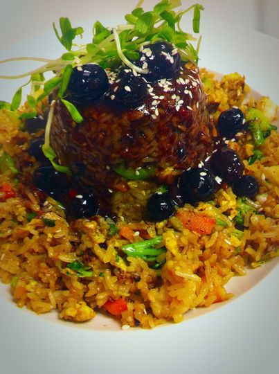 Shrimp Fried Rice with Wildberry Compote