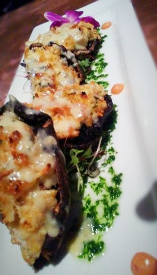 Garlic Parmesan Crusted Crab Stuffed Portobello with Vodka Gorgonzola Cream