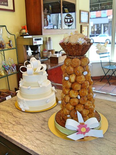 Wedding cake and croquembouche tower