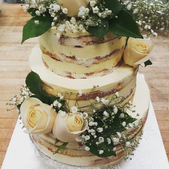 Floral naked wedding cake