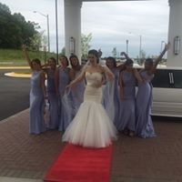bride and ladies at hilton hands up