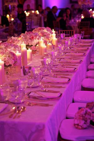 Pink lighting at the reception