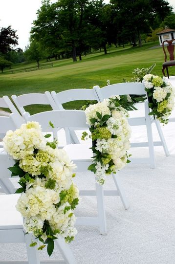 White flower chair decorations