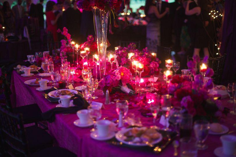 Romantic lighting during reception