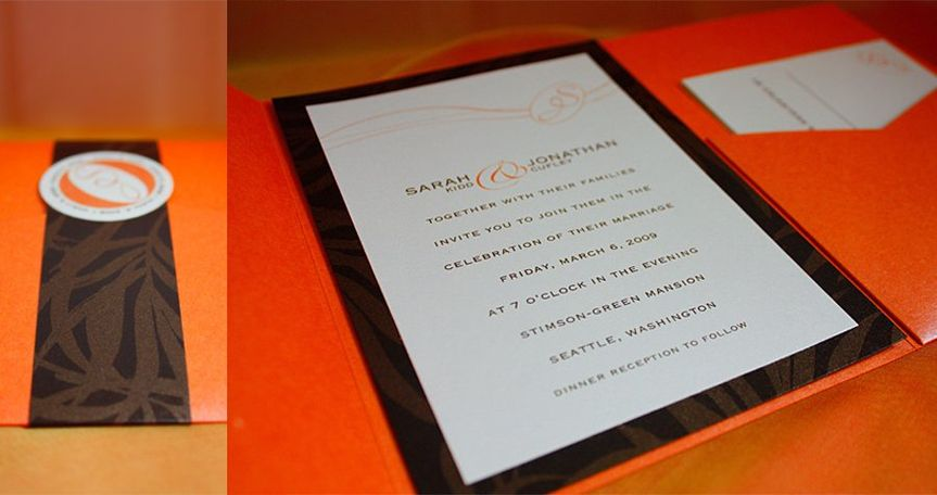 Pocket style invitation for additional information such as maps and RSVP cards.