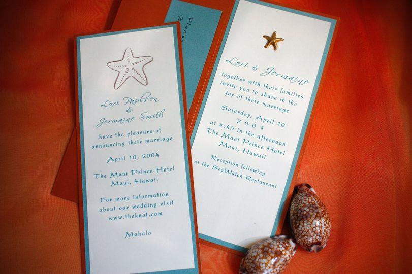 Starfish details for destination wedding. Announcement also pictured.