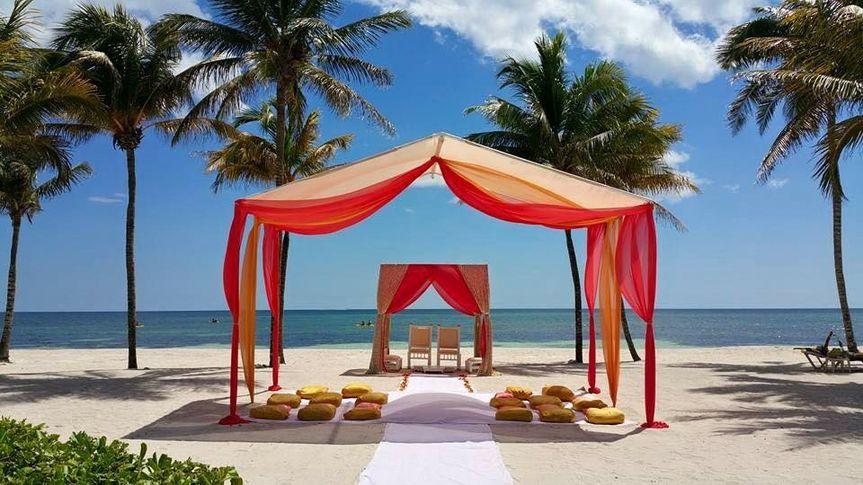 Bright beach wedding setup