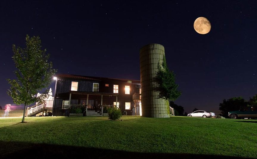 Venue exterior at night