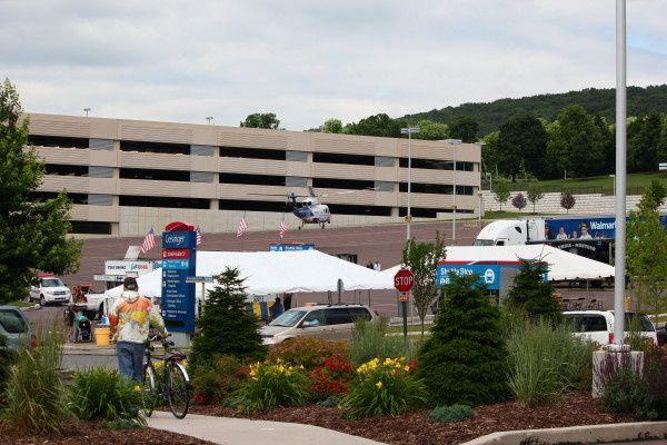 Frame tents at Geisinger Hospital in Danville, PA