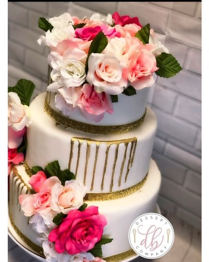 3 Tier Pink & Gold