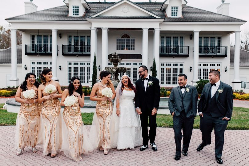 An excited wedding party