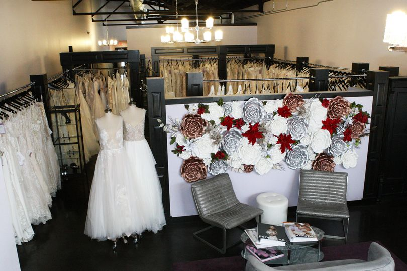 Array of wedding gowns