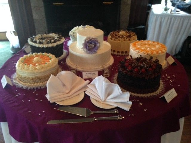 assorted wedding cake table