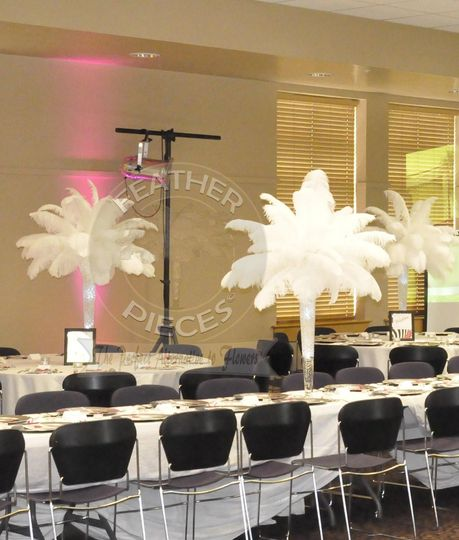 Ostrich feather centerpiece rentals by featherpieces