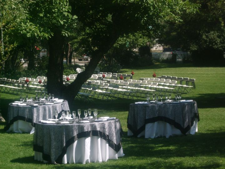 Outdoor wedding and reception space