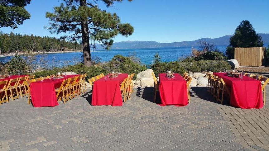 Outdoor reception setup by the water
