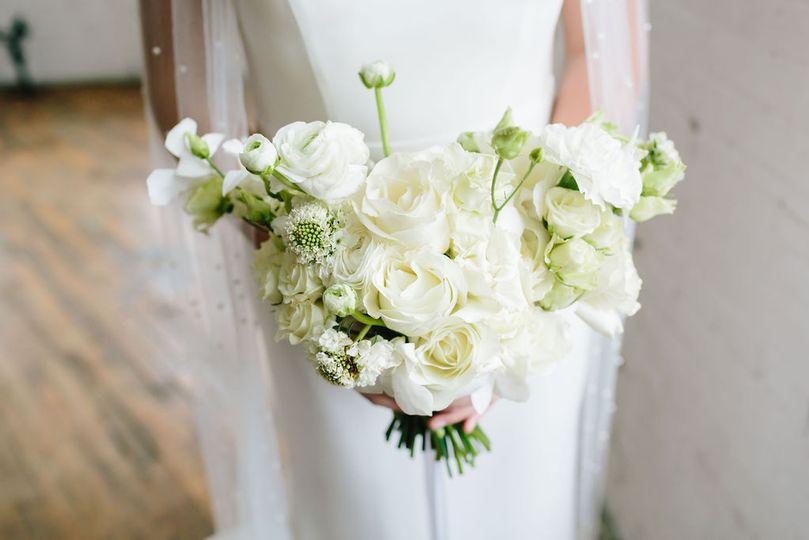 All white bride's bouquet