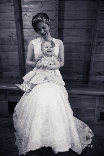 Bride with her baby