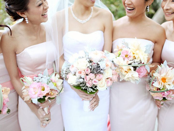 Tmx 1414428833386 Bride With Bridesmaids Light Pink Assorted Bouquet Boston, MA wedding florist