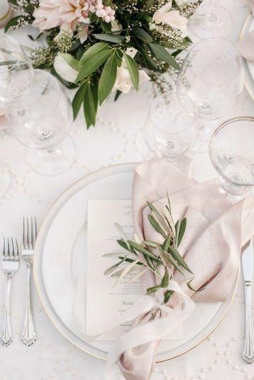 Classic white table setting