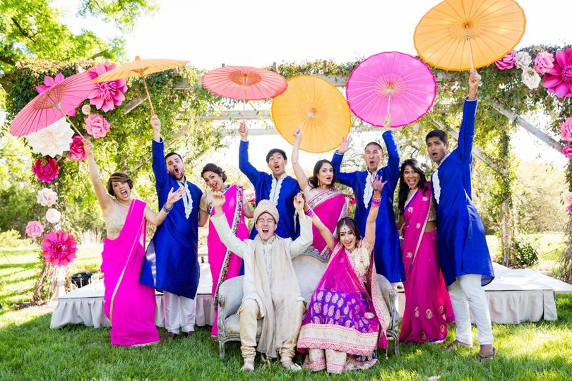 Indian fusion wedding party
