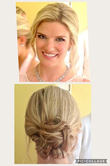 Front and back of bridal hair