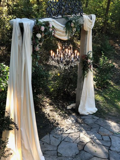 Flowers draped and waiting